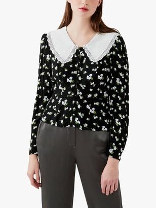Ghost Kala Oversized Collar Floral Blouse, Black/White