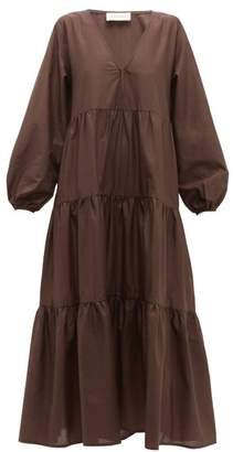 Matteau - The Long Sleeve Tiered Cotton Dress - Womens - Nude
