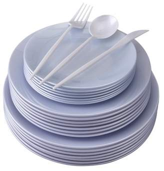 Silver Spoons PARTY DISPOSABLE DINNERWARE SET | 156 pc | 20 Dinner Plates | 20 Salad Plates | 20 Dessert Plates | 48 Forks | 24 Spoons | 24 Knives (Opulence - White)