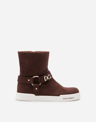 Dolce & Gabbana Suede Ankle Boots With Lettering
