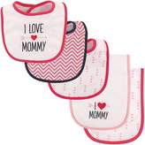 "Luvable Friends Baby Girls' ""I Love Mommy"" 5-Pack Bibs & Burp Cloths Set"