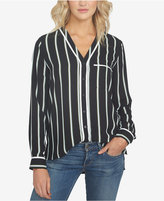 1 STATE 1.STATE Striped V-Neck Shirt