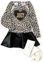 Juicy Couture Infant Girls) Faux Leather Drop Waist Dress & Tights Set