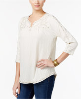 Style&Co. Style & Co Petite Embroidered Shrittail Top, Only at Macy's