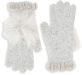 Glamour Puss Glamourpuss Knit Fox Fur Pom-Pom & Rabbit Fur Trim Gloves