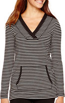 Liz Claiborne Long-Sleeve Kangaroo-Pocket Striped Tunic