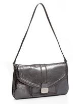 Metallic Embossed-Snakeskin Clasp Bag