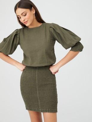 Very Shirred Skirt Ruched Sleeve Linen Dress - Khaki