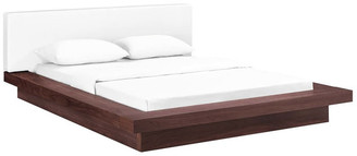 Lexmod Freja Queen Faux Leather Platform Bed, Walnut White