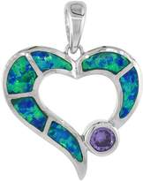 Sabrina Silver Sterling Silver Amethyst CZ Open Heart Pendant Synthetic Opal Inlay 4 mm