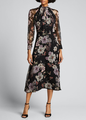 Adam Lippes Floral-Print Chiffon Scarf-Neck Midi Dress