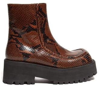 Marni Square-toe Python-print Leather Ankle Boots - Womens - Black Brown