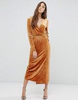 Vila Wrap Front Velvet Maxi Dress