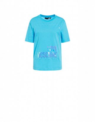 Love Moschino T-shirt With Iridescent Logo Woman Blue Size 38 It - (4 Us)