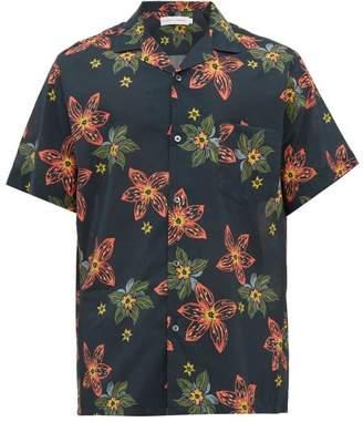Desmond & Dempsey Arantza Floral Print Cotton Pyjama Shirt - Mens - Navy Multi