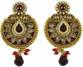 Matra Indian Traditional Wedding Goldtone Kundan Stone Dangle Earrings Women Jewelry