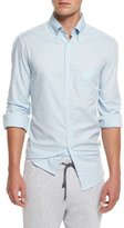Brunello Cucinelli Solid Twill Long-Sleeve Sport Shirt, Powder Blue