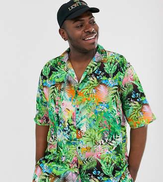 Asos Design Disney The Lion King x DESIGN Plus revere shirt two-piece in jungle print-Black