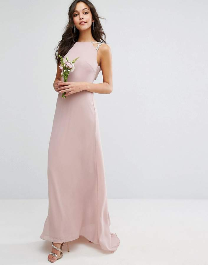 TFNC Wedding High Neck Maxi Dress With Embellished Low Back