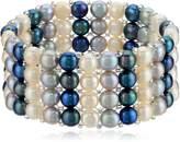 Bella Pearl Triple Row Dark Multi-Stretch Bracelet
