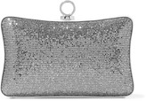 Halston Sequined and glittered leather clutch