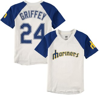 Majestic Youth Ken Griffey Jr. Cream/Navy Seattle Mariners Game Tradition Name & Number V-Neck T-Shirt