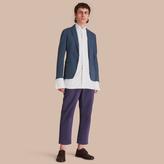 Burberry Slim Fit Stretch-cotton Blazer , Size: 50, Blue