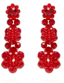 Simone Rocha Floral-drop Crystal-embellished Earrings - Womens - Red