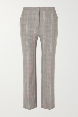 Alexander McQueen Cropped Prince Of Wales Checked Woven Straight-leg Pants - Gray