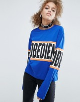 Asos T-Shirt With Disobedient Print In Boxy Fit With Long Sleeves