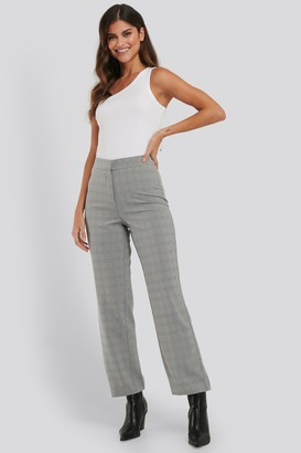 NA-KD Cropped Straight Suit Check Pants