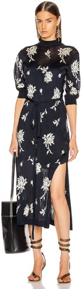 Chloé Floral Tie Dress in Navy | FWRD