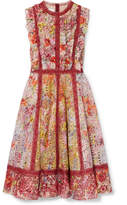 Valentino Floral-print Broderie Anglaise Cotton-blend Mini Dress - Red