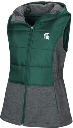 Colosseum Women's Green Michigan State Spartans Ray Quilted Full Zip Vest