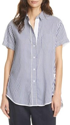 SEVENTY VENEZIA Seventy Stripe Short Sleeve Button-Up Shirt