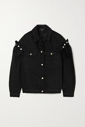 Mother of Pearl Brennon Faux Pearl-embellished Ruffled Organic Denim Jacket - Black