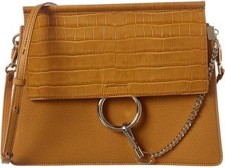 Chloé Faye Medium Croc-Embossed Leather Shoulder Bag