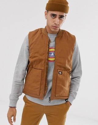 Dickies Lawrenceburg padded vest in brown duck