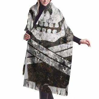 Gong Black Pearl Pirate Flag Cashmere Big Shawl Winter Thick Warm Scarf Wrap Shawl