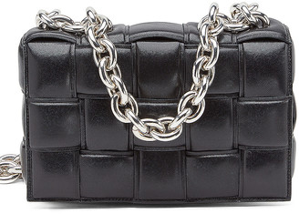 Bottega Veneta The Chain Cassette in Black & Silver | FWRD