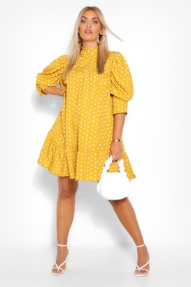 boohoo Plus Printed Puff Sleeve Ruffle Neck Smock Dress