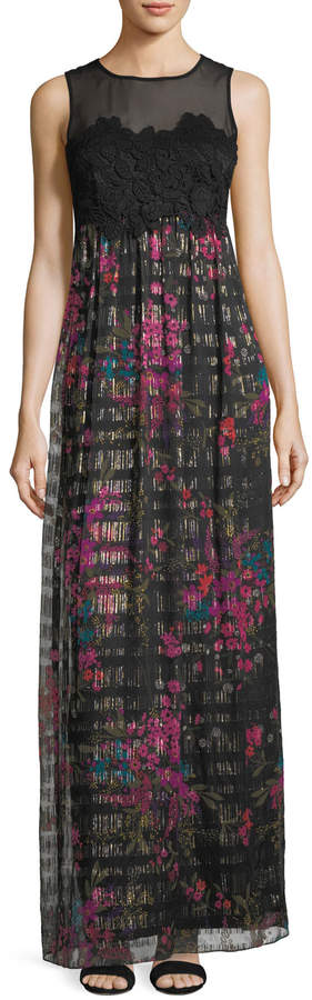 Trina Turk Betton Sleeveless Bouquet-Print Lace Bodice Maxi Dress
