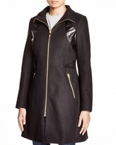Via Spiga Faux Leather-Trim Zip Coat