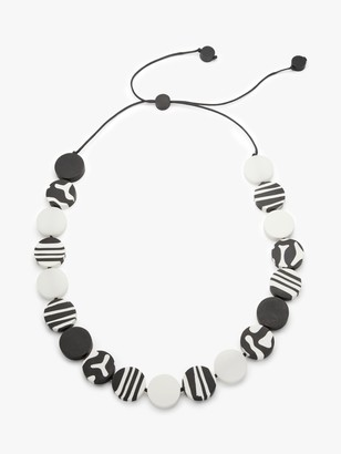One Button Zebra Motif Round Resin Beads Long Necklace, Black/White