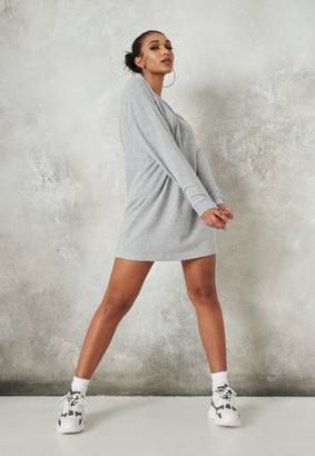 Missguided Grey Oversized Basic Loopback Sweater Dress