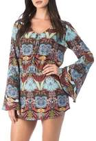 Kenneth Cole Reaction Printed Bell-Sleeve Cover Up
