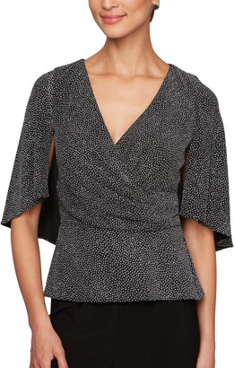 Alex Evenings Women's V-Neck Printed Blouse with Capelet Sleeves (Regular Petite)
