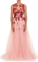 Monique Lhuillier Women's Flower Embellished Tulle Ball Gown-PINK