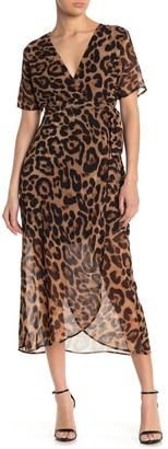 Bardot Leopard Print Chiffon Wrap Midi Dress