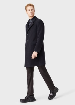 Giorgio Armani Single-Breasted Coat In Virgin Wool And Cashmere